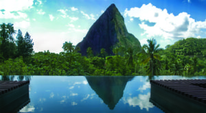 View of Petit Piton from Hotel Chocolat